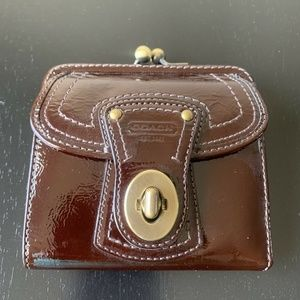 Coach Brown Leather French Frame Turnlock Wallet